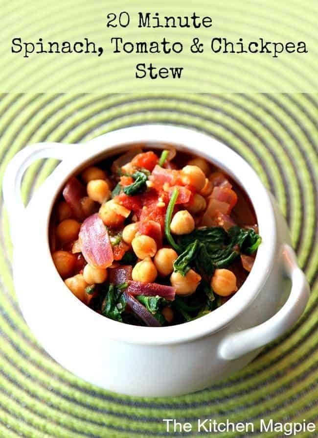 white pot like bowl loaded with Spinach, Tomato & Chickpea Stew