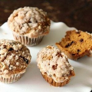 Pumpkin Chocolate Chip Streusel Muffins in white plate