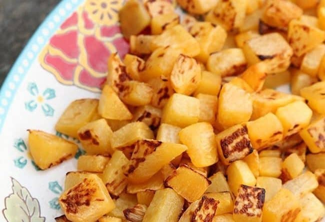 close up plate with Roasted Turnips