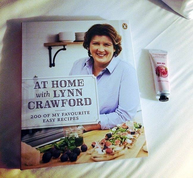 Lynn Crawford's newest cookbook and a lovely handcream in bed