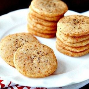 close up Peppery Parmesan Shortbread in a white