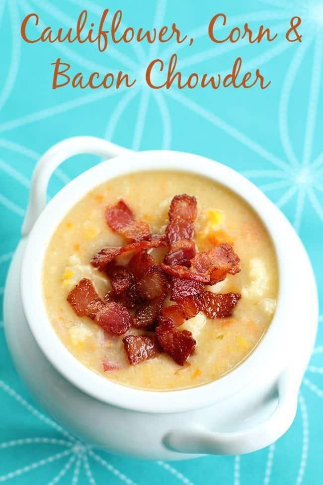 Cauliflower, Corn & Bacon Chowder from @kitchenmagpie.