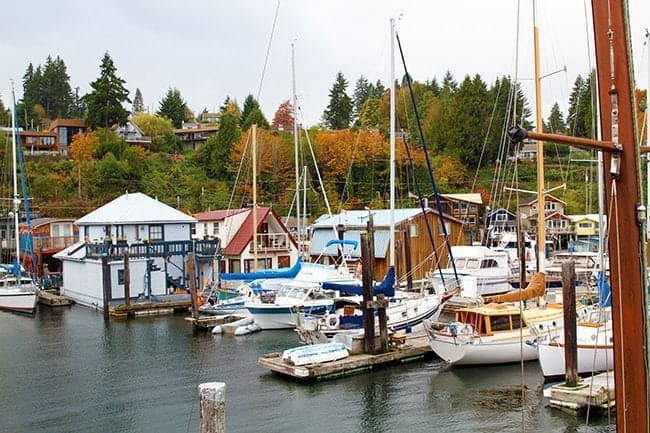 view of Cowichan Bay with plenty of boats