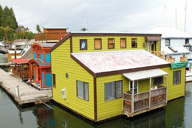 colorful houses floating at Cowichan Bay