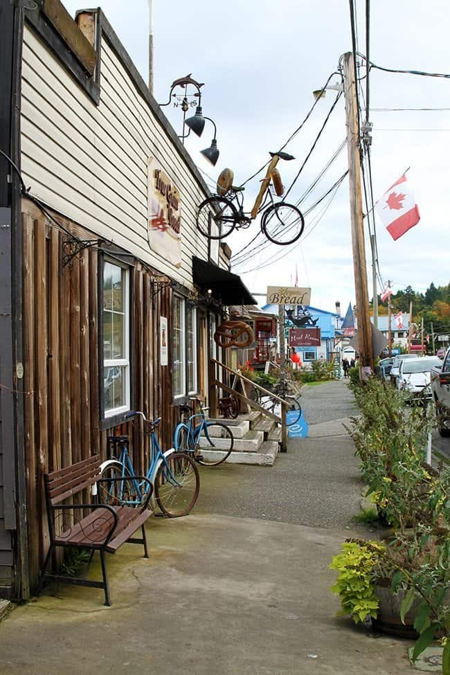 Cowichan Bay - a small, seaside village with stores, benches and bikes