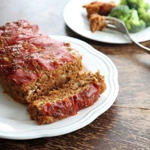 close up seasoned Meatloaf From Campbell's Soup in a white plate