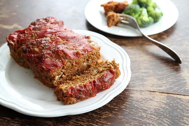 Our Favorite Meatloaf From Campbell's Soup in a white plate