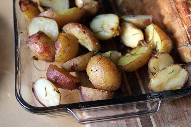 close up of Simple Roasted Garlic & Rosemary Potatoes