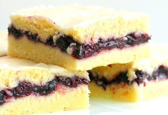 close up of Blueberry Pie Bars on a white plate