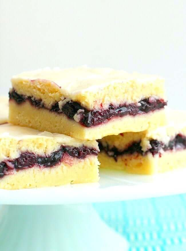 Blueberry Pie Bars on a white plate