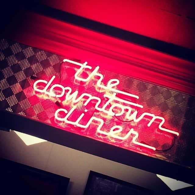red signage at the Downtown Diner