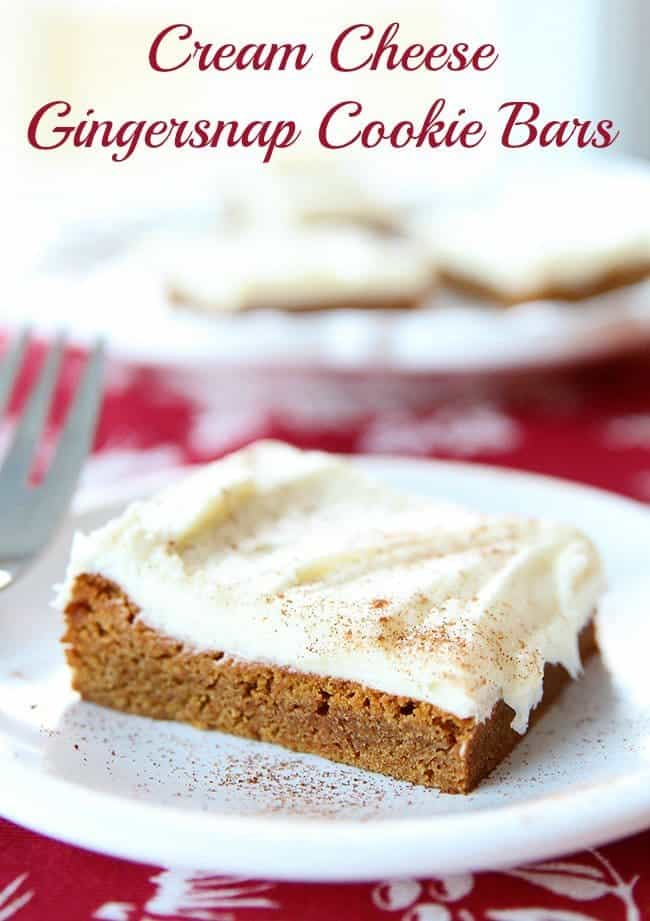 """Cake mix makes these gingersnap cookie bars a real """"snap"""" to make and the cream cheese frosting is the icing on the cake! #christmas #ginger #creamcheese #frosting"""