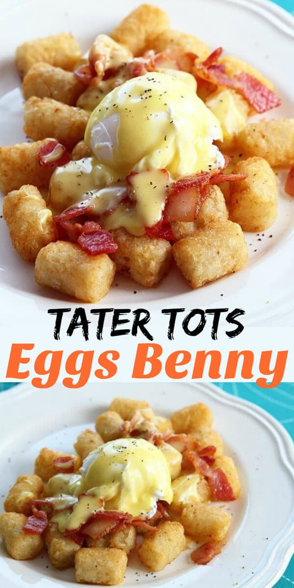 Eggs Benedict done on Tater Tots instead of English muffins with homemade hollandaise sauce. Once you try it, you'll never use muffins again! #eggs #benedict #tatertots #hollandaise #brunch