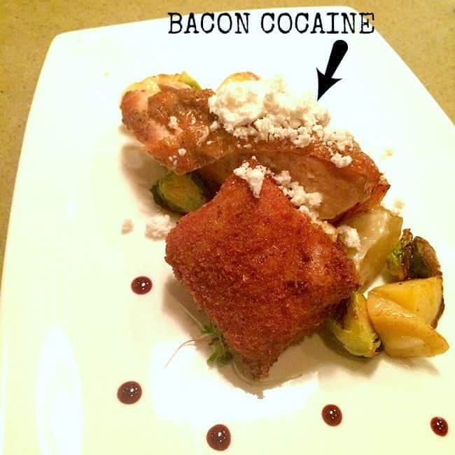 Bacon cocaine in a white plate