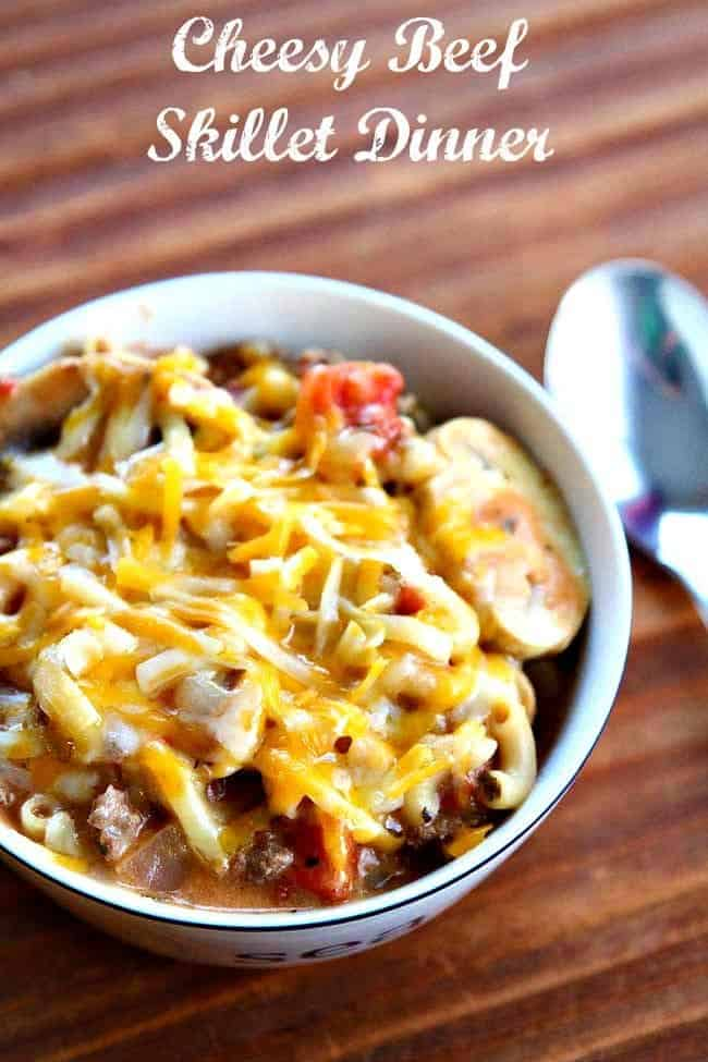 cheesy beef skillet dinner in a white bowl