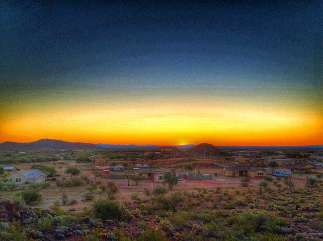 view of sunrise in the dessert