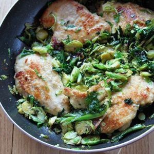 Chicken, Kale & Brussel Sprouts in Skillet with lemon dressing