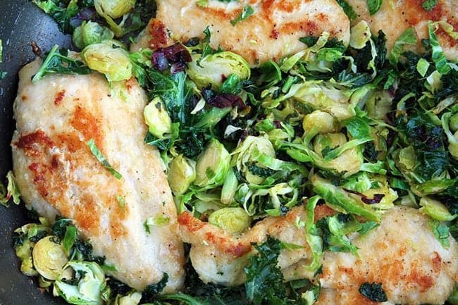 Chicken, Kale & Brussel Sprouts Skillet