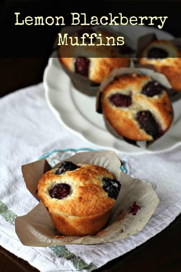 Lemon and blackberries pair up in these lighter muffins to make a decadent, summertime-flavor treat! #muffins #blackberry #lemon