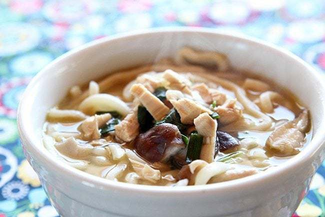 15 Minute Chicken Mushroom Udon Noodle Soup in a white soup bowl