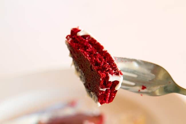 slice of red velvet pancake