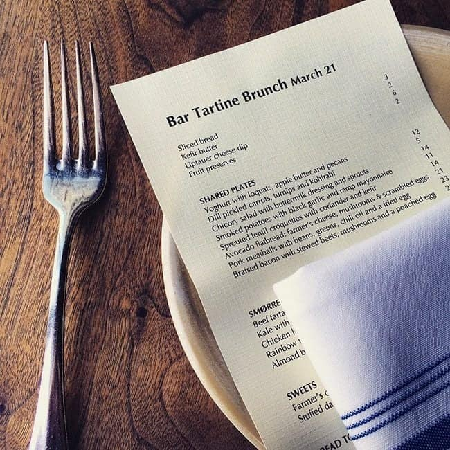 Bar Tartine Menu in San Francisco with Fork on the side