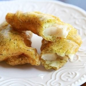 Close up of Delicious deep fried haddock recipe