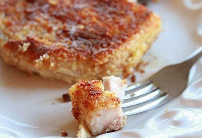 small crust from Panko Parmesan Pork Chop on a fork