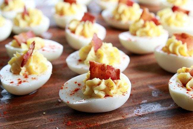 Smoky Bacon Deviled Eggs - The Kitchen Magpie