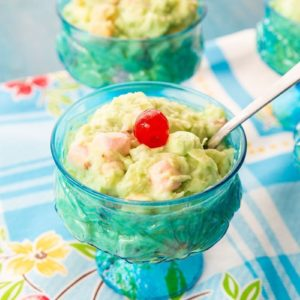 close up of Watergate Salad in Vintage Turquoise Sorbet Glasses