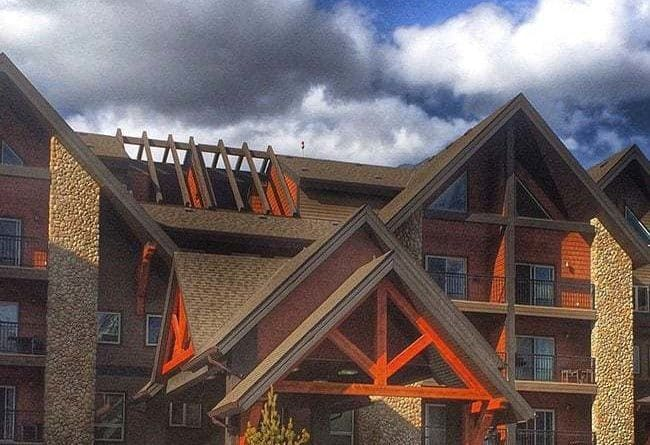 view in the front of The Grande Rockies Resort, Canmore, Alberta