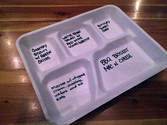 The TV Dinner Tray with written menu