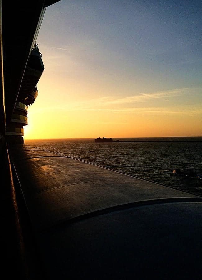 View of Sunset coming out of Cherbourg, France