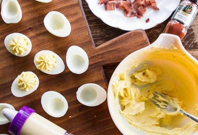 Smoky Bacon Deviled Eggs using Hard Boiled Eggs
