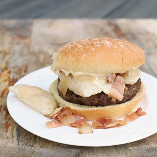 Magpie's Perogy Burger with Roasted Garlic Aoili