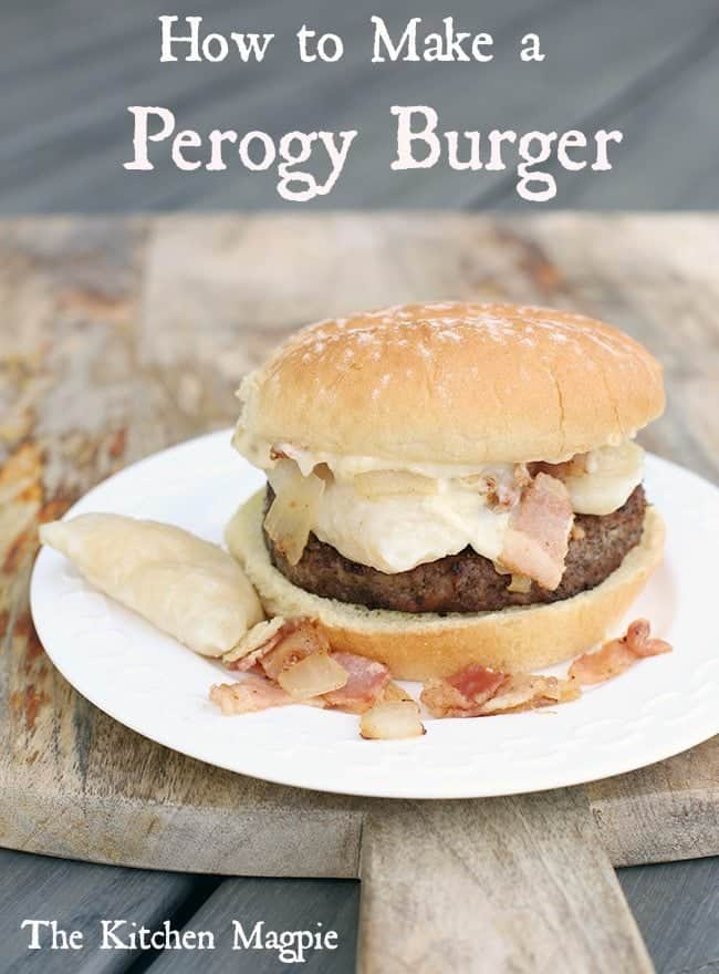 perogy burger on a white plate