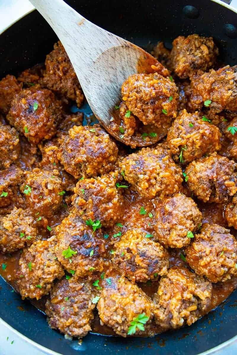 Skillet Porcupine Meatballs