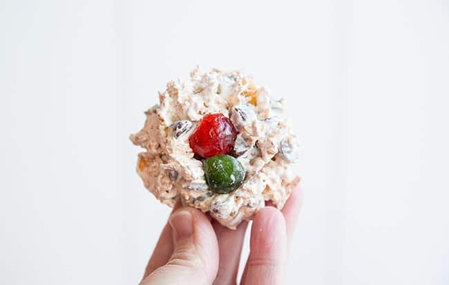 Chocolate Meringue Corn Flake Cookies with cherries