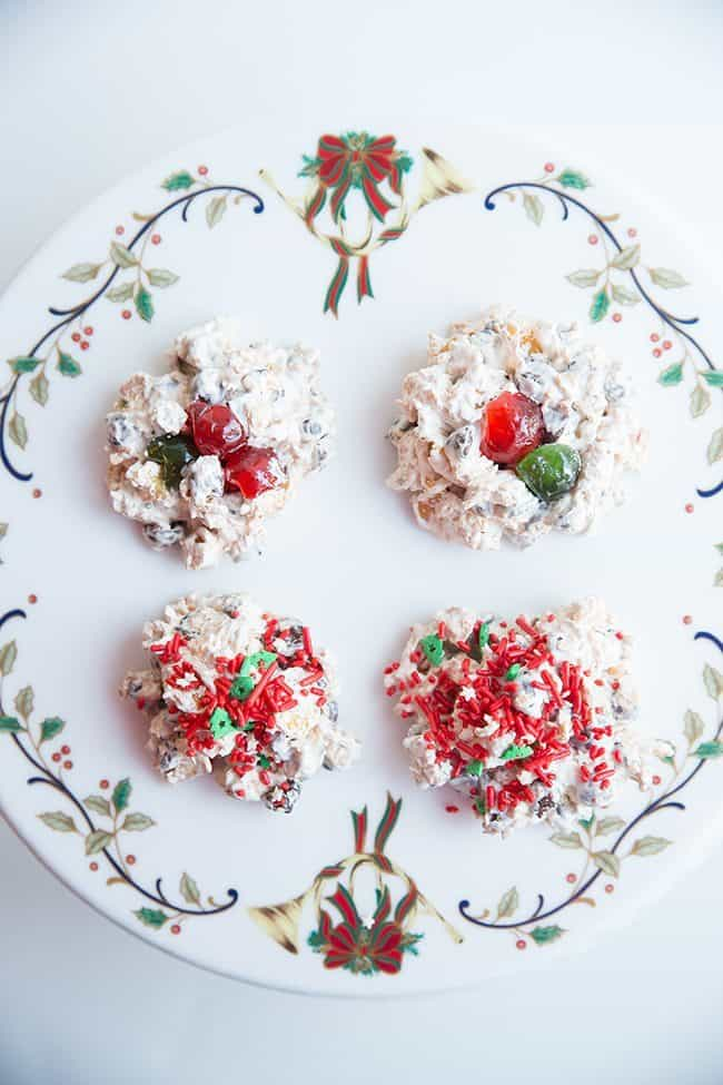 close up Chocolate Corn Flake Meringues in a white background with Christmas ribbon design