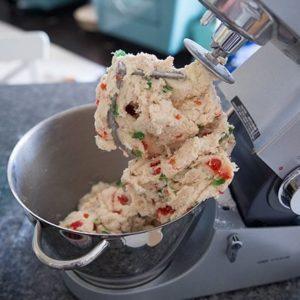 Christmas Scones dough in a mixer