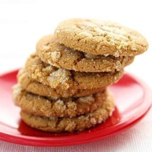 stack of Chewy Citrus Gingerbread Cookies in red plate