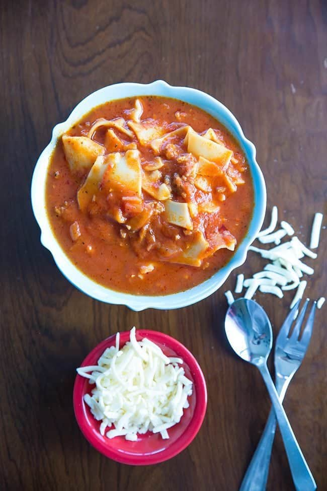Italian Sausage Lasagna Soup from @kitchenmagpie