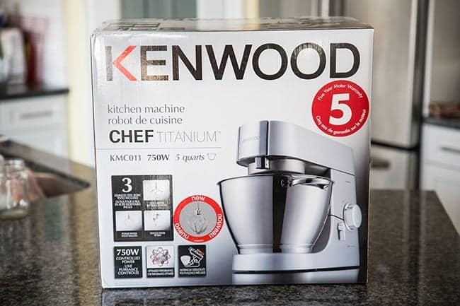 a box of Kenwood brand mixer