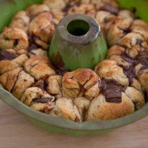 baked dough balls of Monkey Bread in a bundt pan