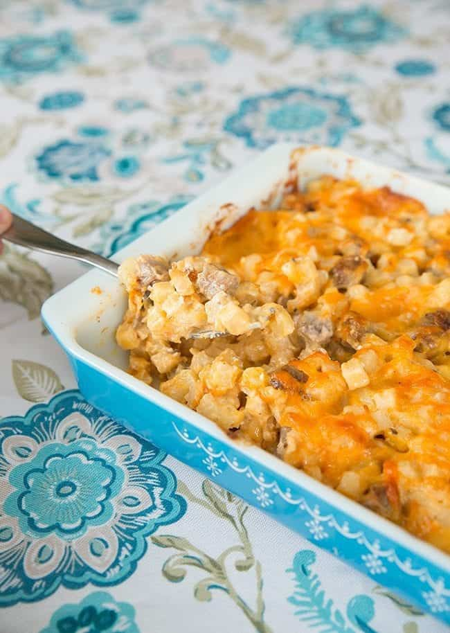 Cheesy Mushroom & Sausage Breakfast Casserole from @kitchenmagpie