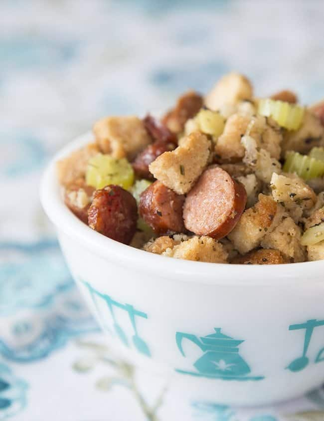 Apple Sausage Crockpot Stuffing from @kitchenmagpie