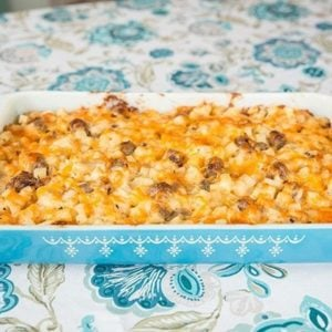 Cheesy Mushroom & Sausage Breakfast Casserole in Blue Pyrex Baking dish