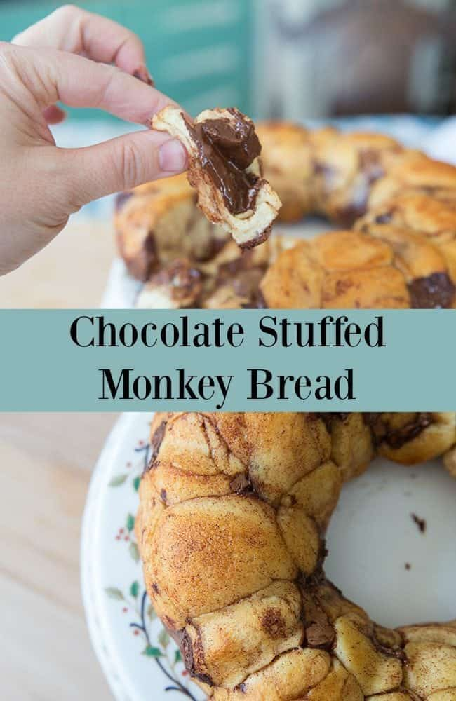 The easiest and most delicious monkey bread ever! What could be better than monkey bread stuffed with chocolate? #monkeybread #dessert