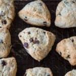 Pie Shaped Chocolate Chip Banana Bread Scones in Cooling Rack