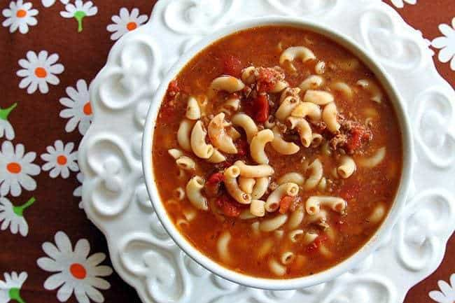 close up of Classic Beef & Tomato Macaroni Soup ready to be enjoy!